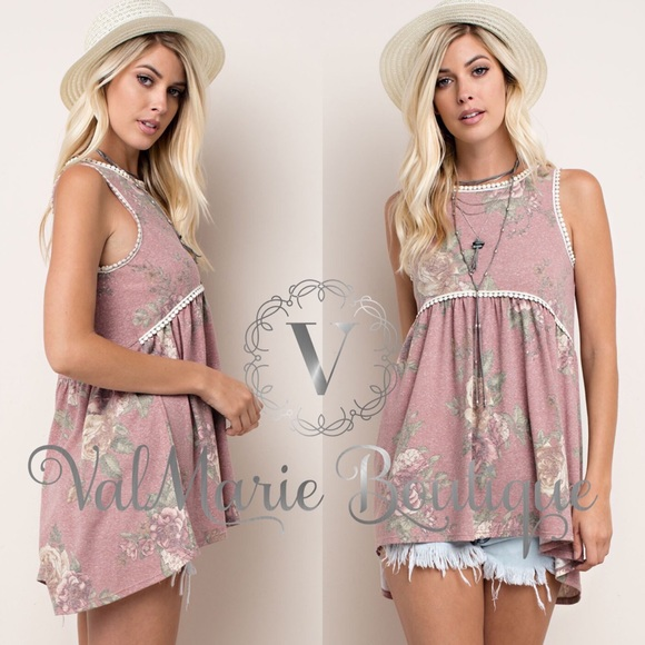 ValMarie Boutique Tops - ITS HERE!!! DUSTY ROSE FLORAL TOP BLOUSE