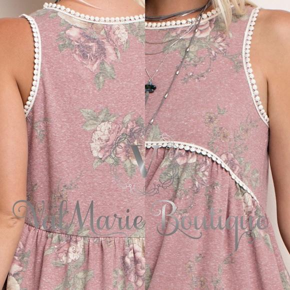 ValMarie Boutique Tops - ‼️LAST 1 SZ S- DUSTY ROSE FLORAL TOP BLOUSE