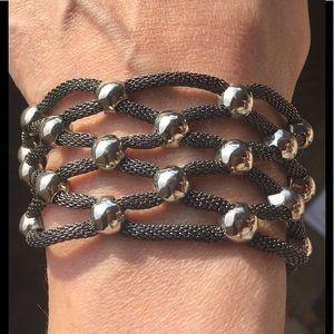 Jewelry - Artisan silver studded rope bracelet