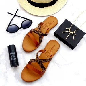 Cognac and Animal Print Leather Flat Sandals
