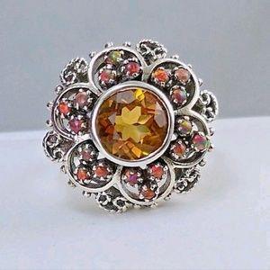 Vintage Jewelry - Vintage Geniune Citrine & Opals Ring