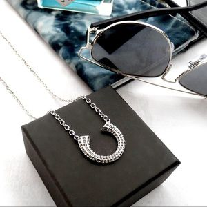 Long Silver Pave Crescent Necklace