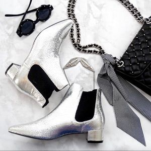 Silver Pointed Toe Chelsea Boots