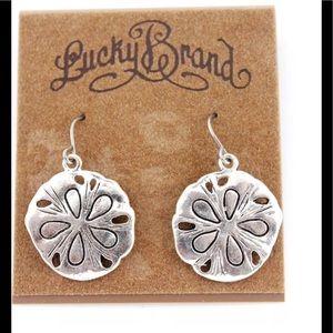 Lucky Brand Jewelry - Lucky Brand Silver Tone Flower Plate Earrings