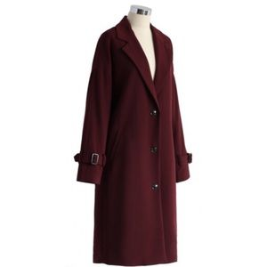 Burgundy trench over coat