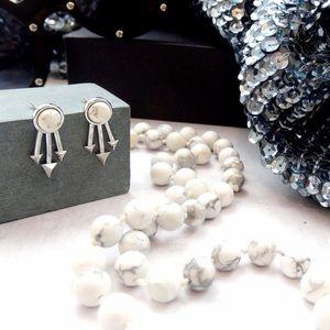 LAST 1! Silver Marble Spike Earrings