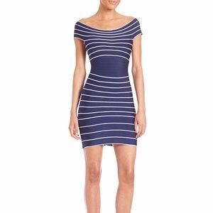 Herve Leger Dresses & Skirts - Herve Leger Off Shoulder Striped Bandage Dress