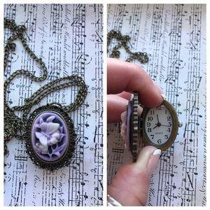 Jewelry - Sweet purple butterfly cameo watch necklace