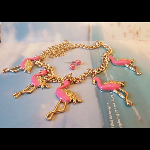 boutique pink flamingo charm necklace pearl earring