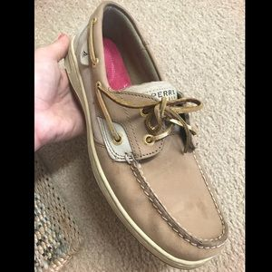 Tan and Gold Sperrys