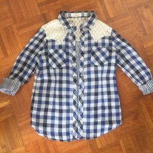 Two by Vince Camuto Tops - Plaid and Lace button down! - Small