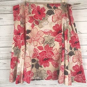 New York & Company skirt floral Career red black