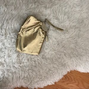 Gold clutch with silver detail