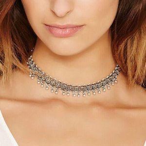 Silver chain boho choker beaded festival necklace!