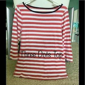 Three Dots Tops - Three Dots Red & White Striped Top Fits Like Large