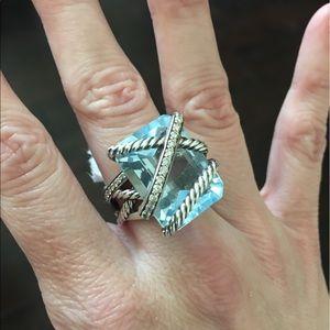 David Yurman Jewelry - David Yurman Cable Wrapped Blue Topaz Ring- Sz 8