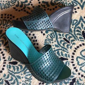 Diane von Furstenberg Shoes - Diane Von Furstenberg teal laser cut wedges 6.5