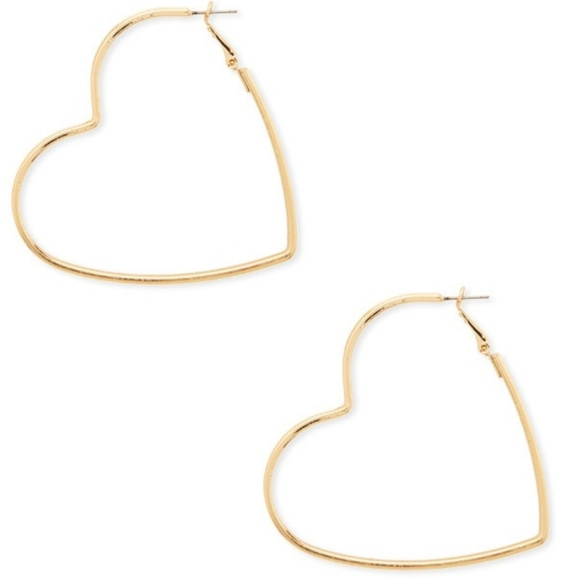 df88f3cb3 Forever 21 Jewelry | Gold Heart Shaped Hoop Earrings | Poshmark