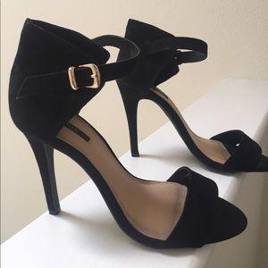 Sexy Black Ankle Strap Heel Sandals