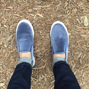 Shoes - Ice Blue Velvet Slip Ons