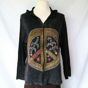 Tops - NWOT PEACE Sign Hooded Sweatshirt