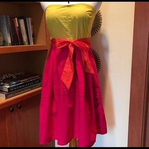 ANTHROPOLOGIE MAEVE Parading Hues Strapless Dress