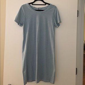 Merona blue white teal stripe short sleeve dress