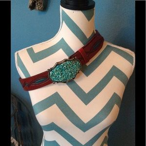 Accessories - Red Leather Belt With Turquoise Buckle, SZ 32