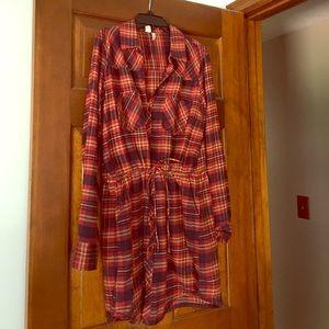 Long sleeve flannel shirt dress