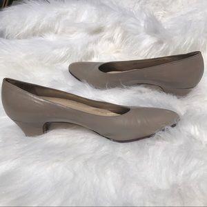 Salvatore Ferragamo Shoes - Salvatore Ferragamo Low Heel Taupe Pumps