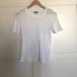 Topshop Tops - Topshop White Ribbed T-Shirt