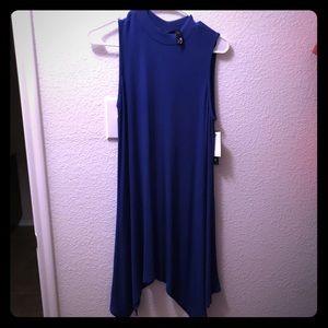 Blue Ribbed Mockneck Dress