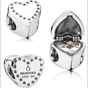 Pandora Marry Me Heart Shaped Ring Box Charm