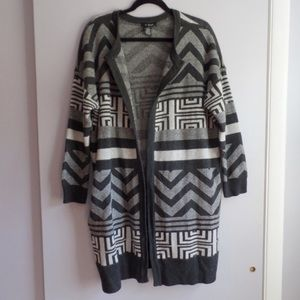 Long Geometric Aztec Cardigan With Pockets