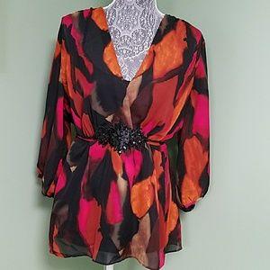 Women's XLarge bright orange combo pullover blouse