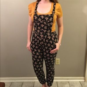 Floral Print Overalls