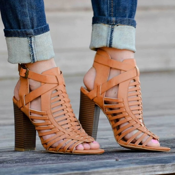Shoes - Tan strappy stacked open toe heels