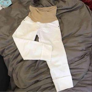 Motherhood Maternity Denim - White Capri length maternity jeans