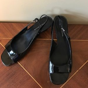 Etienne Aigner Shoes - Etienne Aigner Patent Leather Wedge Sandal  7 1/2
