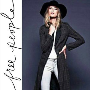 Free People Jackets & Blazers - Free People Plaid & Lace Duster Trench