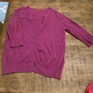 Merona Purple 3/4 Sleeve Cardigan size XL
