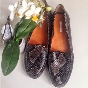 Geox Shoes - GEOX Respira Snakeskin Embossed Leather Loafers.