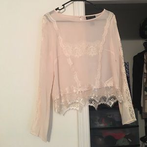 H&M long-sleeved sheer & lace blouse