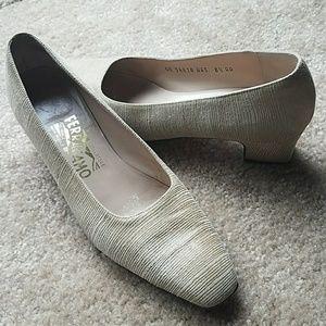 Salvatore Ferragamo Shoes - Tan/ gold fabric low Ferragamo pumps