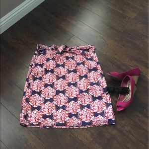 Fully lined pink and navy floral skirt