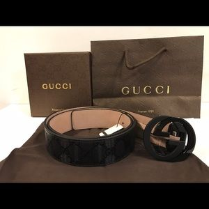 Gucci Other - Gucci black imprime shiny belt