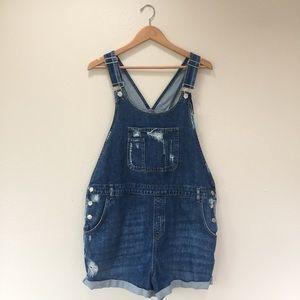 Topshop MATERNITY Pants - Topshop Moto Maternity Overall Jean Shorts Size 12