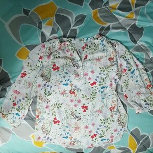 Violet & Claire Tops - White and floral tunic