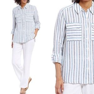 Two by Vince Camuto Point Collar Linen Shirt