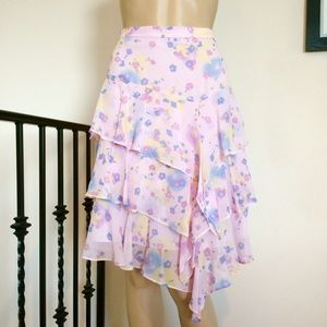 Banana Republic Pink Floral Ruffle Skirt